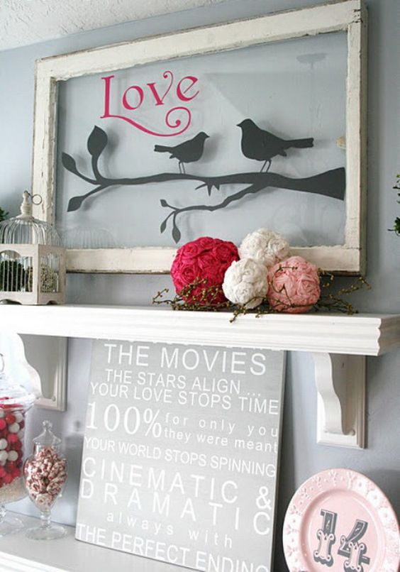 Placing #Valentine's Day #decor on your shelves is a simple swap this season - try displaying something like this! (Via @Steph Eve)