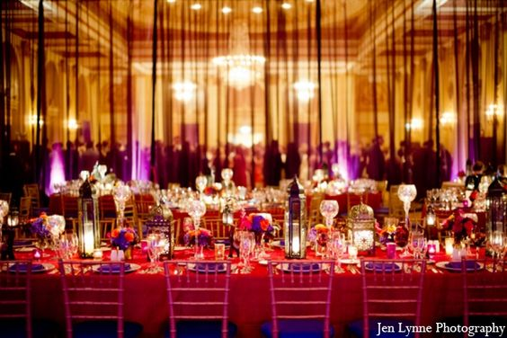 red,purple,gold,cream,hot pink,white,indian wedding reception lighting,wedding reception lighting