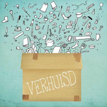 Je hebt altijd meer spullen dan je denkt. Past alles erin? Verhuizen dan maar!  Design: Iris Boter  Te vinden op: www.kaartje2go.nl