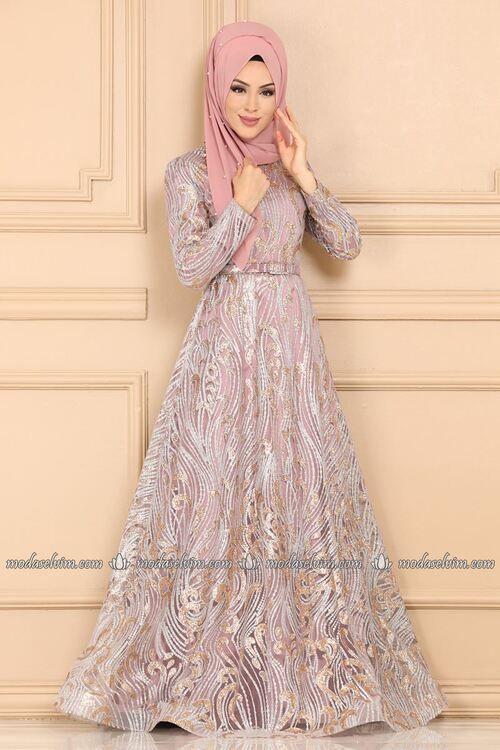 Modaselvim Abiye Simli Tul Tesettur Abiye 9048w153 Gul Kurusu Musluman Modasi Elbiseler The Dress