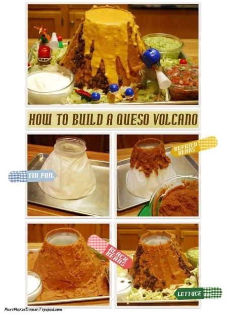 A Queso volcano....sounds insane but totally awesome!! And it's surprisingly easy!! This is sure to be a HUGE hit at a dinosaur party!!