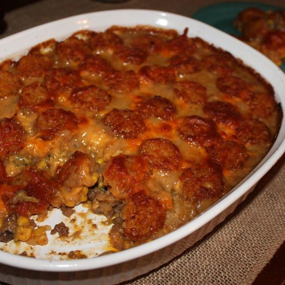 """Colorado Cowboy Casserole """"This is a great family meal with just enough flavor to not be a boring tater tot casserole."""""""