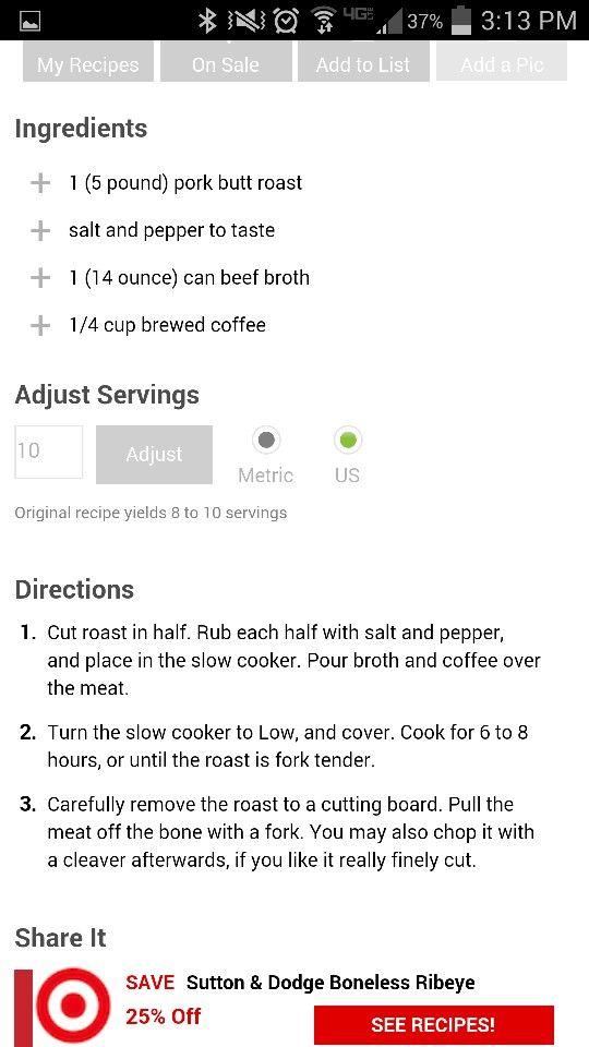 Coffee crock pot pork