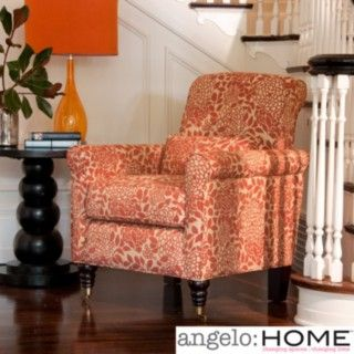 Update your home decor with this angelo: Home Harlow arm chair   Furniture piece features transitional design with rounded arm design  Seat is comfortable with polyester fiber and high-end foam