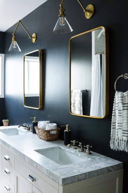 Vintage Chrome Pulls Accent A White Dual Washstand Boasting A Gray Marble Countertop Fitted Wit Blue Bathroom Decor Blue Bathroom Walls Bathroom Faucets Chrome