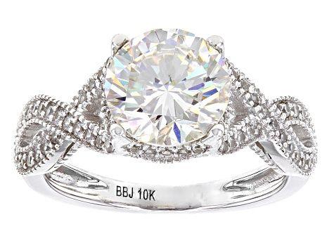 Meet Your New Favorite White Fabulite Strontium Titanate 10k White Gold Ring 3 33ctw Jtv Offers Exceptional Quality And White Gold Rings White Gold Gold Rings