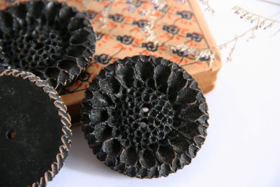 3 Antique Hand Carved Flower Shape Black Buttons by damesaucouture