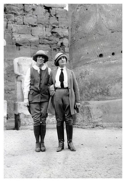 Menswear inspired fashions worn on a trip to Egypt, 1920s. #vintage #1920s #menswear #Egypt: