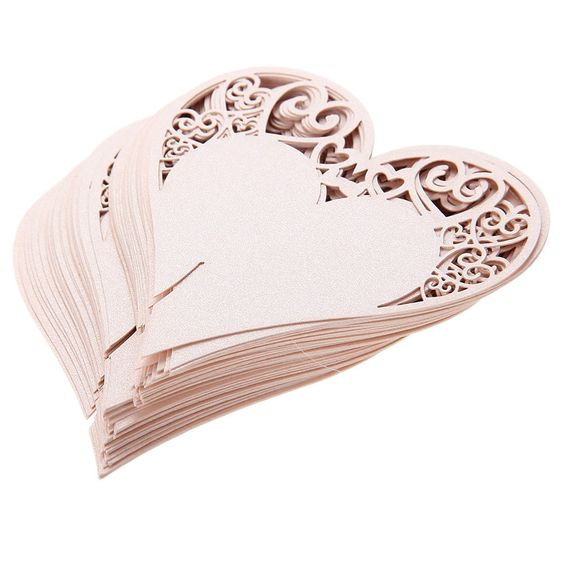 50 x Pink Name Place Card Laser Cut Heart Shape for Wine Glass Wedding Party New  | eBay