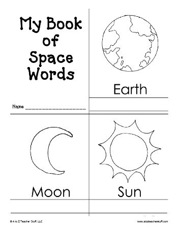 My Book of Space Words Printable