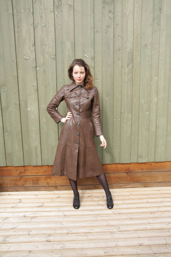 Womens Chocolate Brown Leather Trench Coat Button Up Brown Long