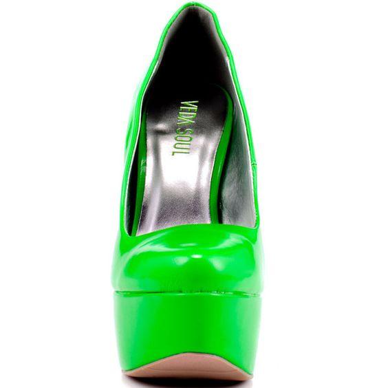 Veda Soul Women's Ellen - Neon Green ($60) ❤ liked on Polyvore featuring shoes, pumps, heels, high heel pumps, platform shoes, stiletto pumps, patent pumps and high heel court shoes