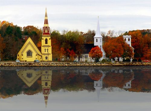 Three churches in Mahone Bay, Nova Scotia