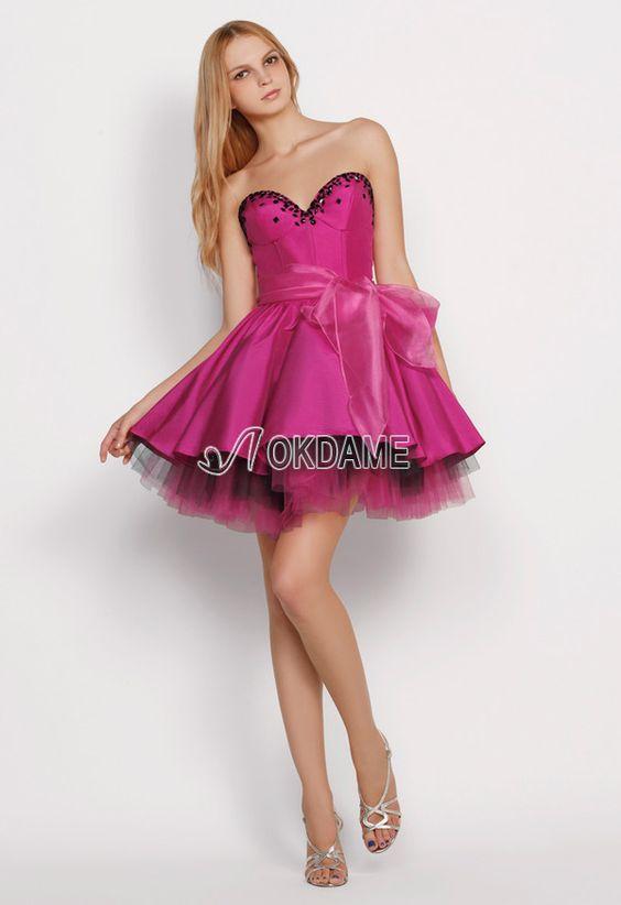 Tüll Prinzessin ärmelloses Abiballkleid/ Süß 14 Geburtstag Kleid mit Rüschen aus Satin