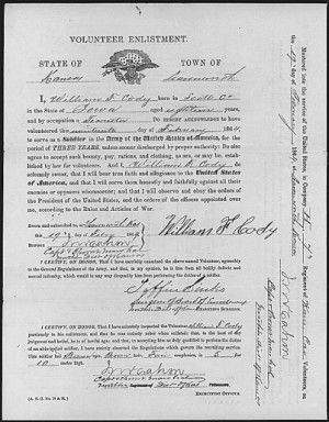 """Enlistment paper of William F. """"Buffalo Bill"""" Cody from his compiled military service record, 7th Kansas Cavalry, Civil War"""