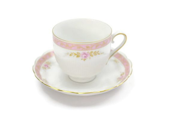 AK Kaiser Bellevue Tea Cup & Saucer Set / Pink Roses / Rare Pattern / Artist Signed / c1980s  - pinned by pin4etsy.com