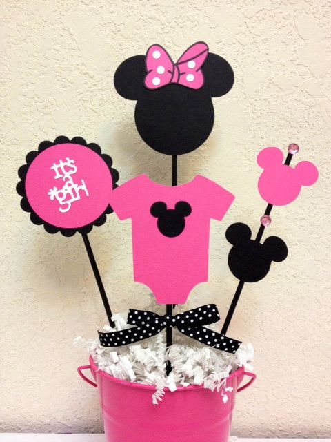 Minnie mouse baby shower decoration centerpieces its a for Baby mickey decoration ideas