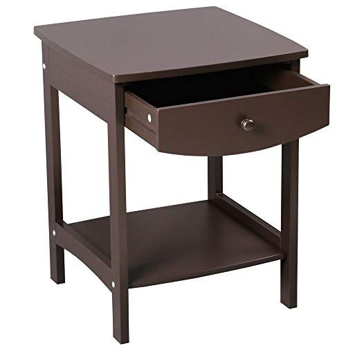 Chairside Table Coffee Side End Table With Storage Shelf For