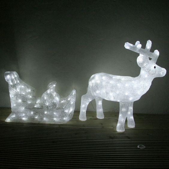 Alaskan Reindeer With Sleigh Light Up Christmas Figure | Lights4fun.co.uk