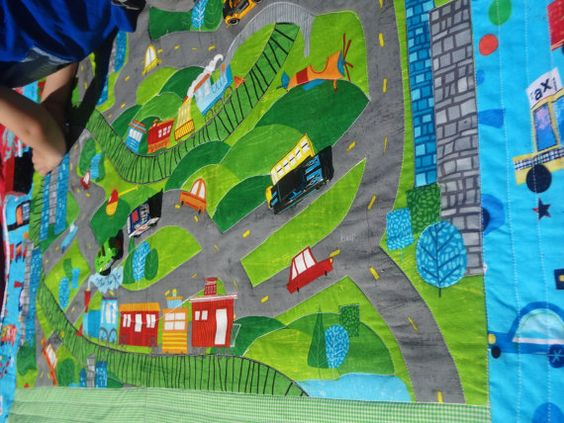 Car Track Quilt/Play Mat by LuluBelleCouture on Etsy