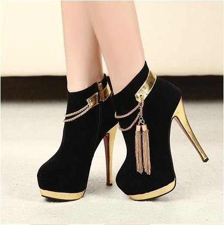 Black And Gold Stiletto Heels
