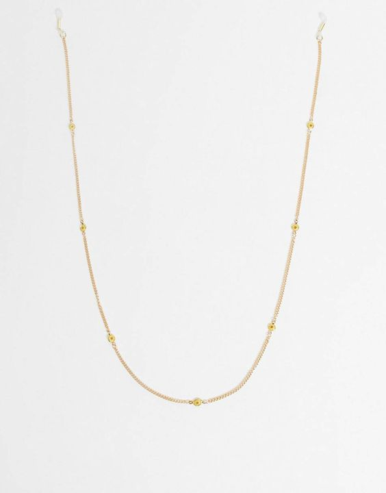ASOS DESIGN skinny 2mm sunglasses chain in figaro with flower beads in gold tone
