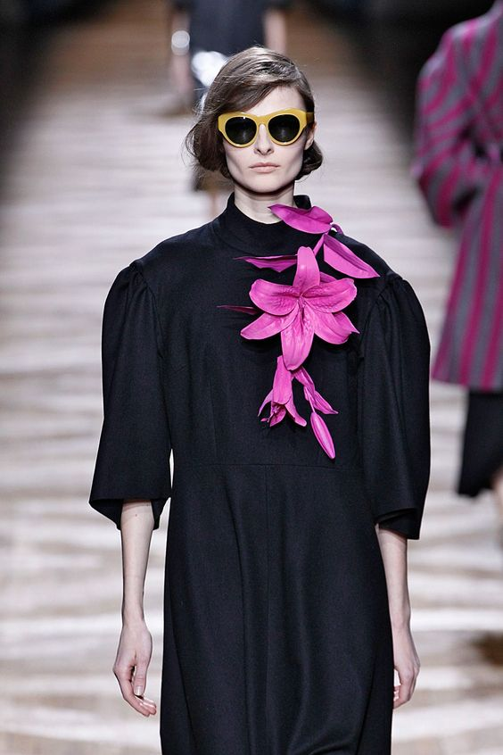 ■ Floral Brooches Dries Van Noten. #refinery29 http://www.refinery29.com/accessory-trends#slide-11