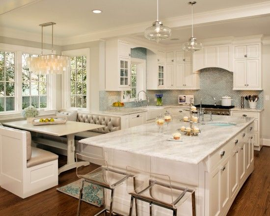 Kitchen Island Options white kitchen, double islands, dark floors, panelled appliances