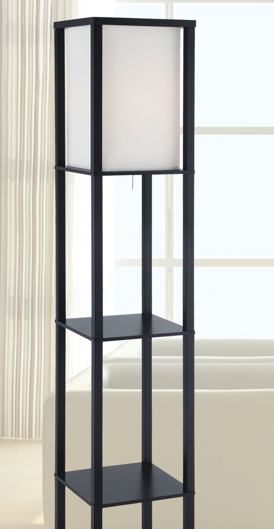 Floor Lamps Menards: Stylish square tower lamp with three shelves for additional storage. ...,Lighting