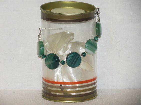 Bracelet en palets d'agate verte et malachite : Bracelet par pawscrea