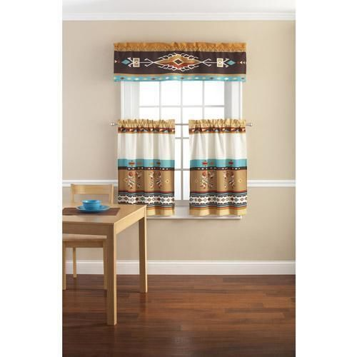 Southwestern indian print kitchen curtains curtain tiers for Kitchen set in hindi