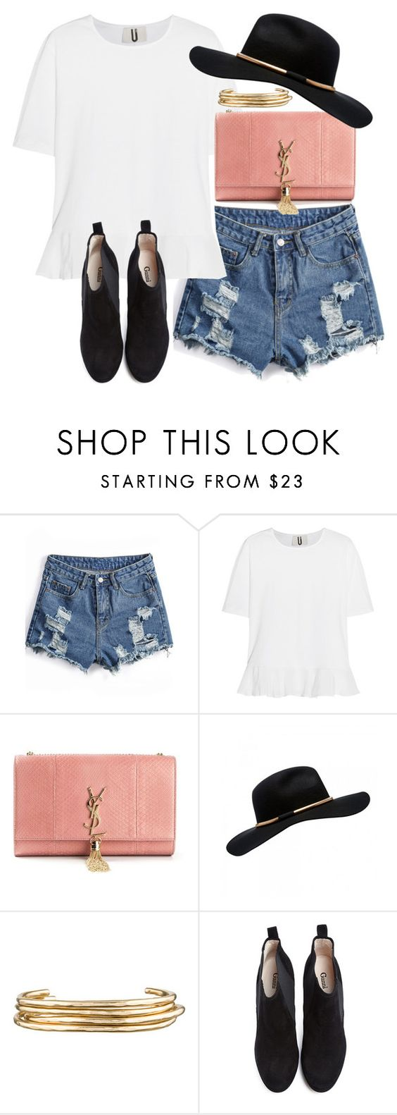 """""""Untitled #5966"""" by ashley-r0se-xo ❤ liked on Polyvore featuring Topshop Unique, Yves Saint Laurent, Forever New, Jennifer Fisher, Ganni, women's clothing, women, female, woman and misses"""