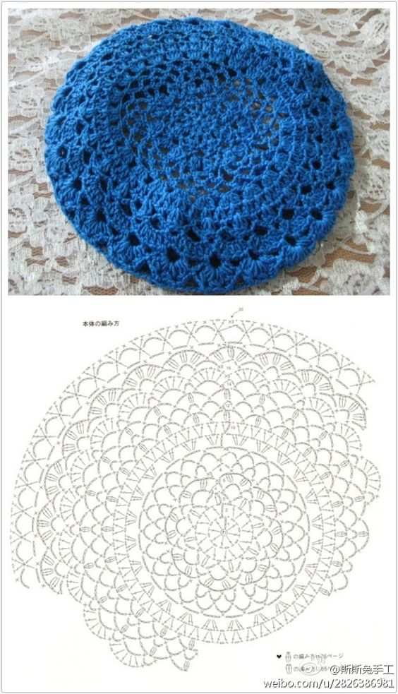 Knitting Pattern Lace Beret : lace-y crochet beret knitting Pinterest For women, Charts and Patterns