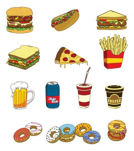 Color de la comida rápida — Ilustración de stock   Ilustración vectorial, Comida rapida, Ilustraciones