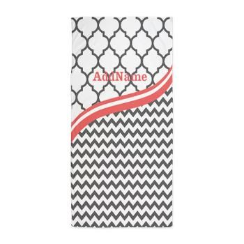 Gray Grey Coral Chevron Quatrefoil Beach Towel