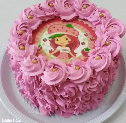 Bolo Redondo Com Papel De Arroz Cake Cake Toppers Strawberry Shortcake