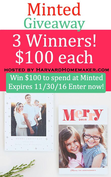 Amazing giveaway! Expires soon! Click through the pin to enter your name and email address - easy! I absolutely LOVE Minted! They have the best holiday cards ever!! #affiliatelink #giveaway #minted #christmascards #holidaycards #harvardhomemaker