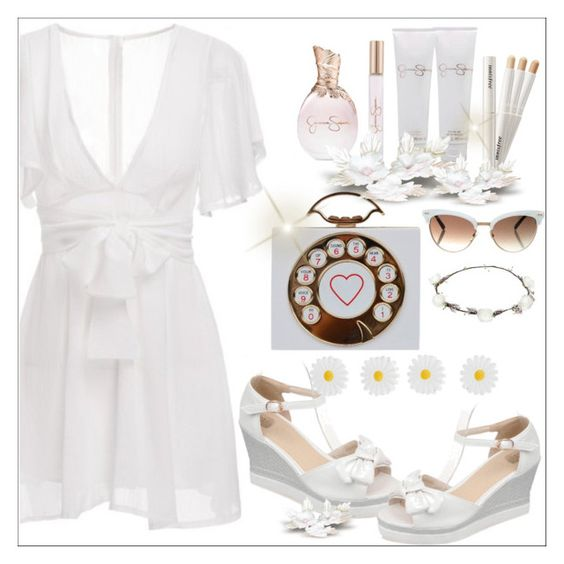 """""""White Dress"""" by selmir ❤ liked on Polyvore featuring Jessica Simpson, Gucci, Lipsy, Accessorize, DateNight, drivein, summerdate and twinkledeals"""