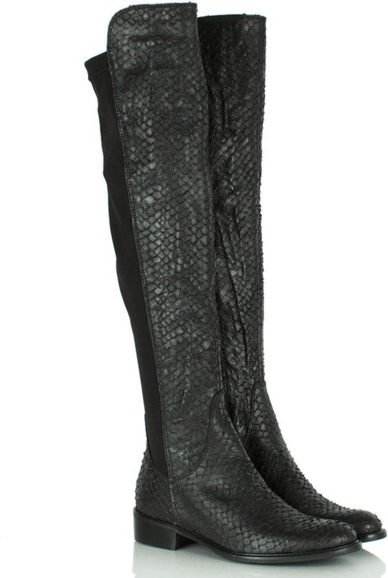 Pin for Later: The Best Over-the-Knee Boots For All Budgets  Daniel black leather reptile print over-the-knee boot (£229)