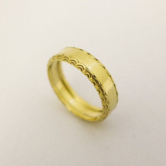 14 karat gold simple wedding ring for men and by noafinejewelry