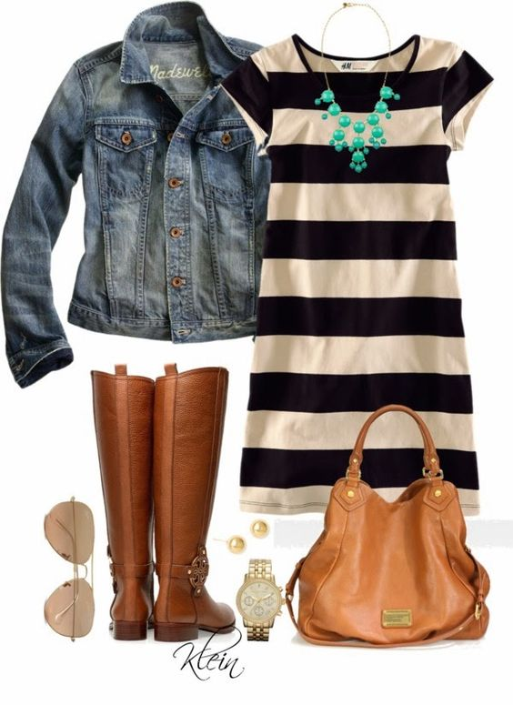 striped t-shirt dress, denim jacket, boots and a pop of color necklace