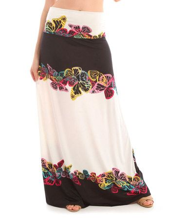 Look what I found on #zulily! Black & Red Butterfly Fold-Over Maxi Skirt by BOLD & BEAUTIFUL #zulilyfinds