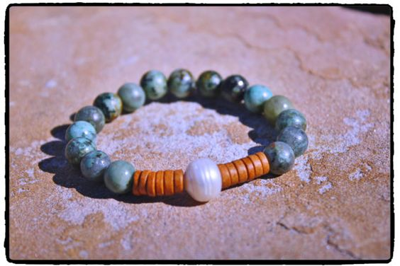 African Turquoise Fresh Water Pearl and Wood by ShortDogJewelry