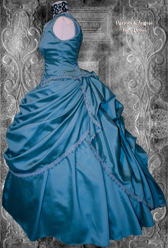 Stunning unique one off blue victorian steampunk wedding for Wedding dress large bust small waist