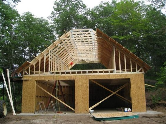 Unique detached garage plans used wooden material combined for Brick garage plans