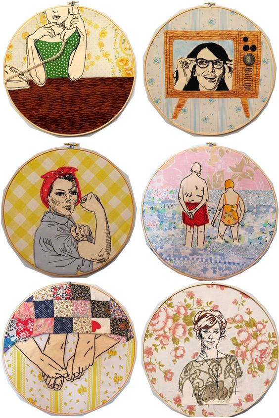 These embroidery hoops are beautiful and fun. I love the Tina Fey one!
