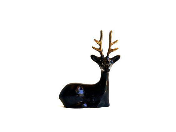 Vintage Enamel Covered Brass Deer Figurine  Black by thepropbroker, $25.00