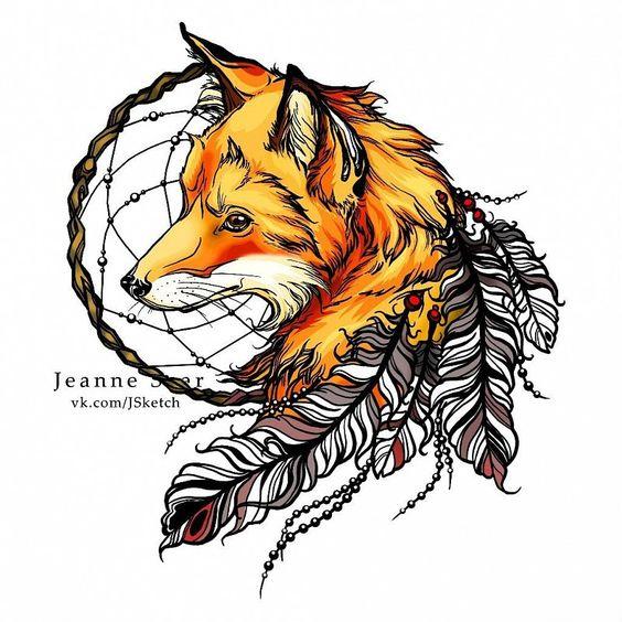 Картинки по запросу тату лиса и ловец снов