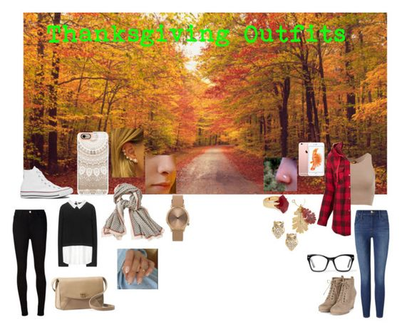 """thanksgiving outfits"" by queen26yassy on Polyvore featuring Alice + Olivia, AG Adriano Goldschmied, Converse, Casetify, Aigle, UGG Australia, Topshop, Columbia, Frame Denim and Spitfire"