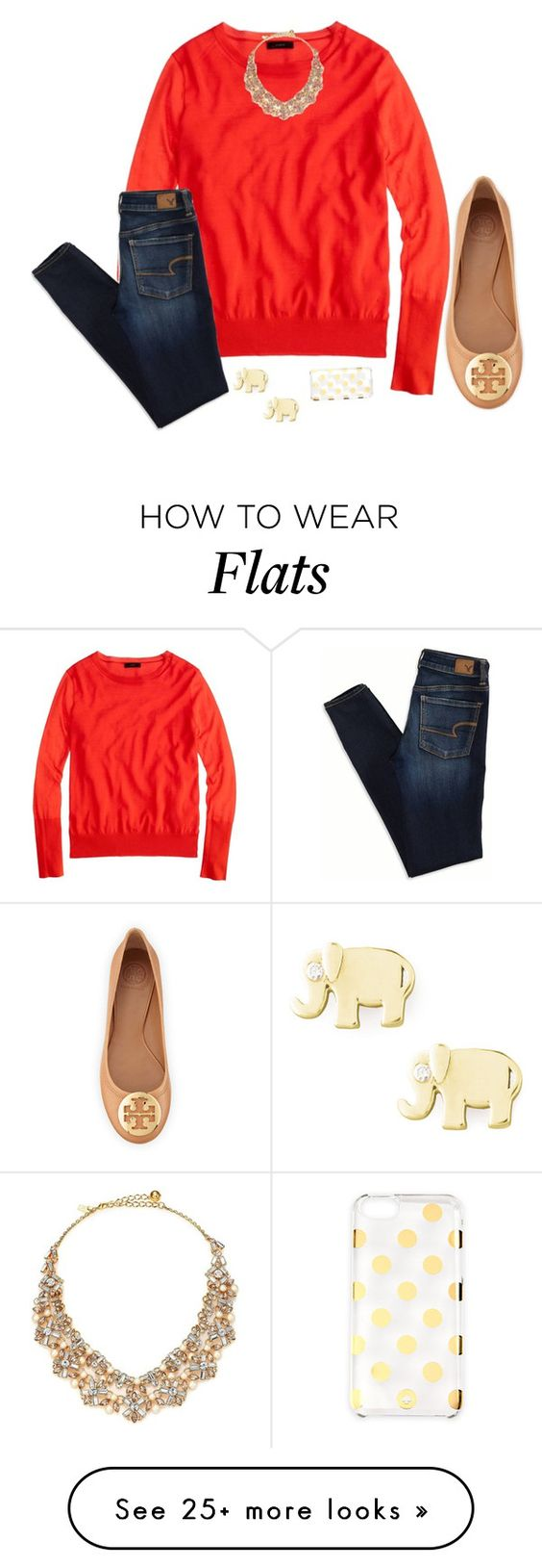 """LOVE TORY BURCH FLATS!"" by harpgirl913 on Polyvore featuring J.Crew, Kate Spade, Tory Burch, American Eagle Outfitters and Sydney Evan:"